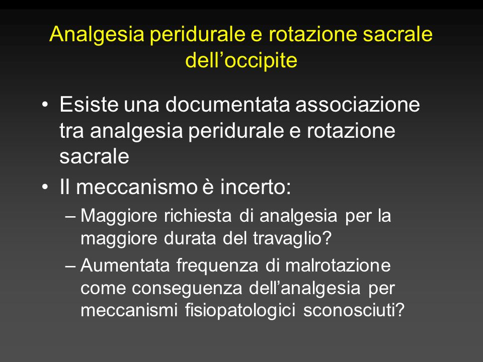 Analgesia peridurale e rotazione sacrale dell'occipite