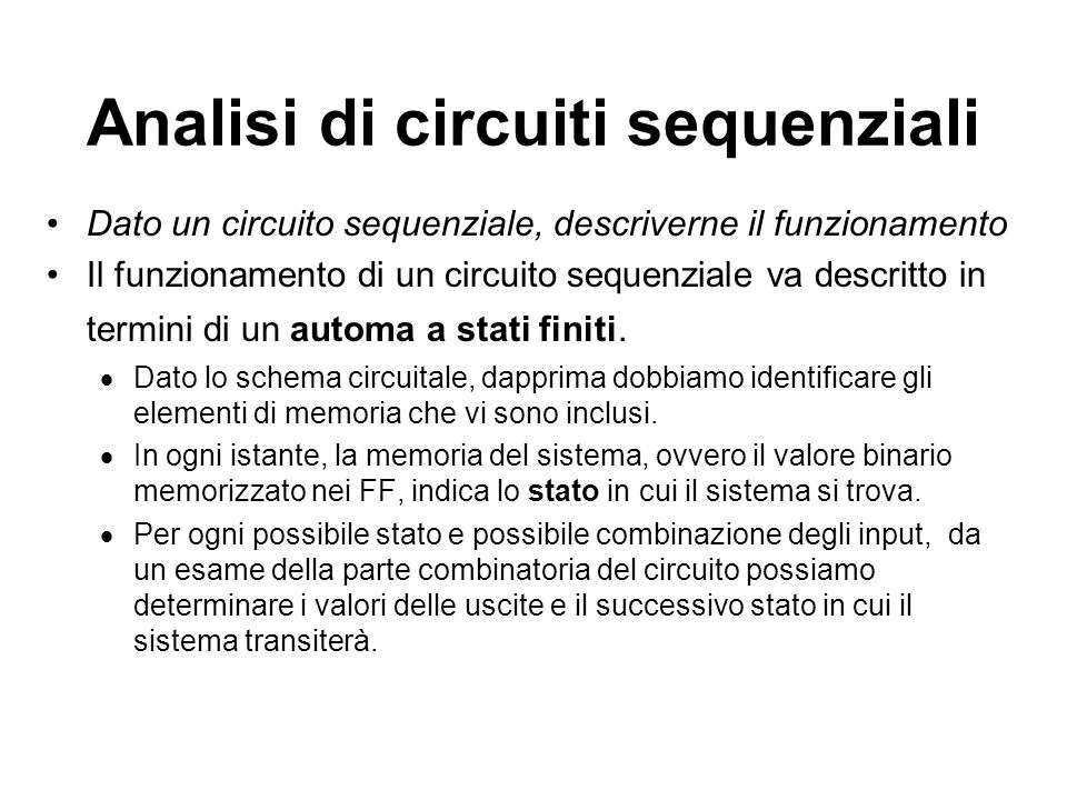 Analisi di circuiti sequenziali