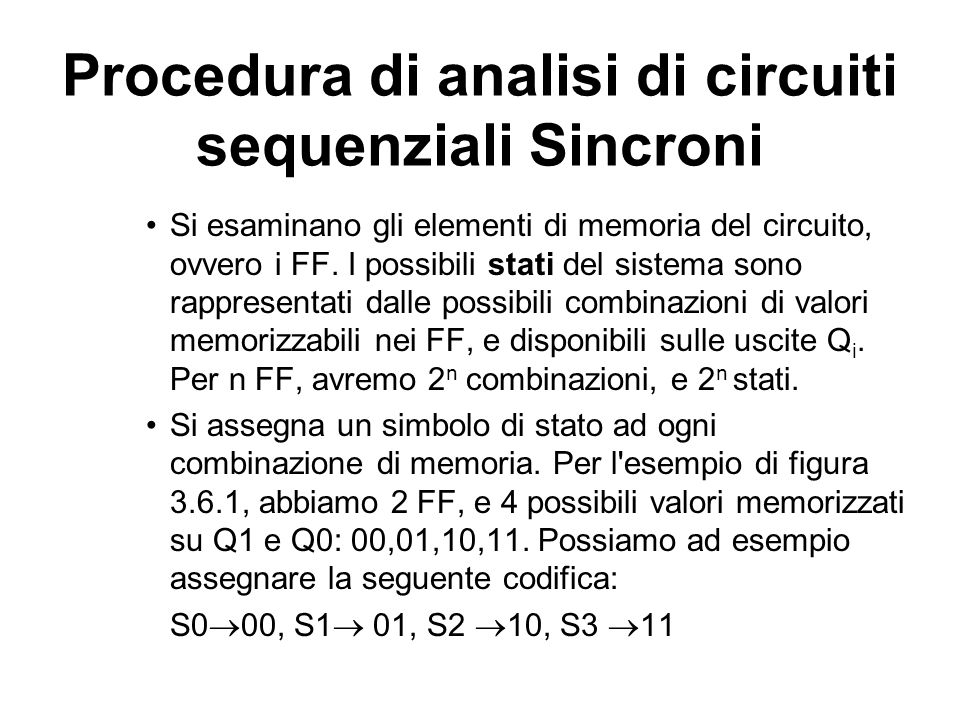 Procedura di analisi di circuiti sequenziali Sincroni