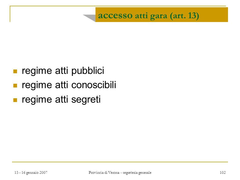 accesso atti gara (art. 13)