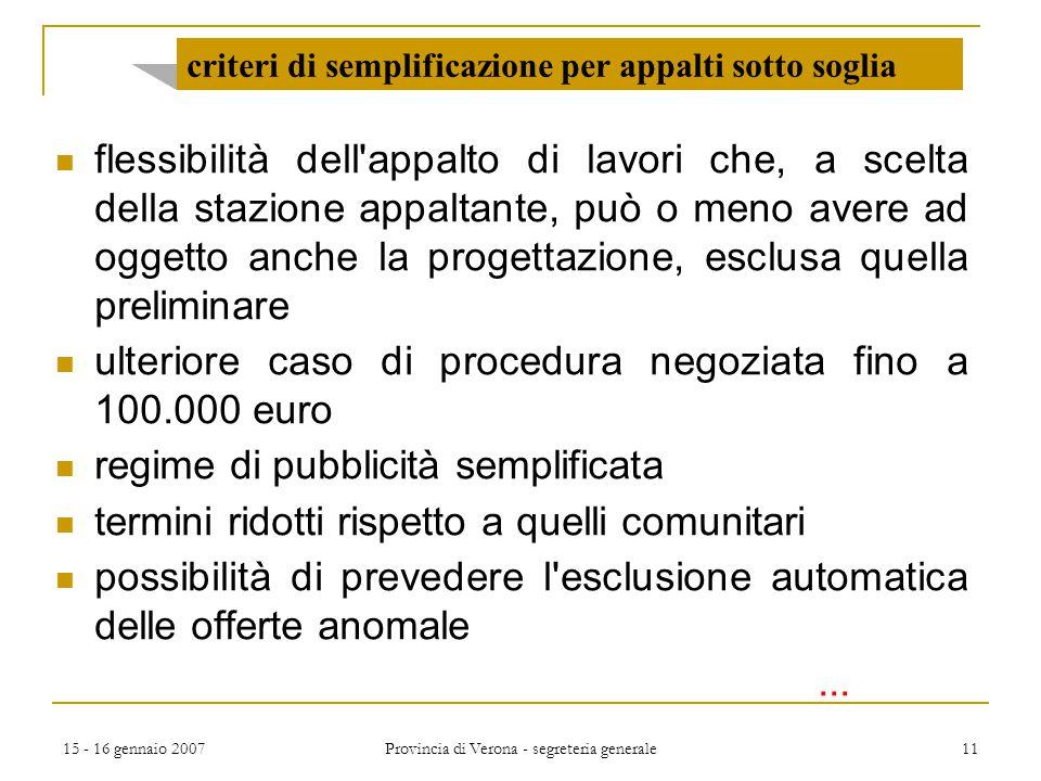 criteri di semplificazione per appalti sotto soglia