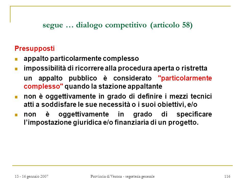 segue … dialogo competitivo (articolo 58)