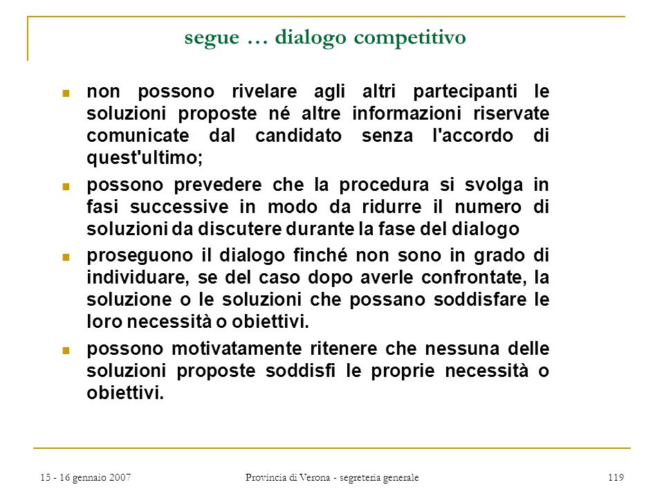 segue … dialogo competitivo