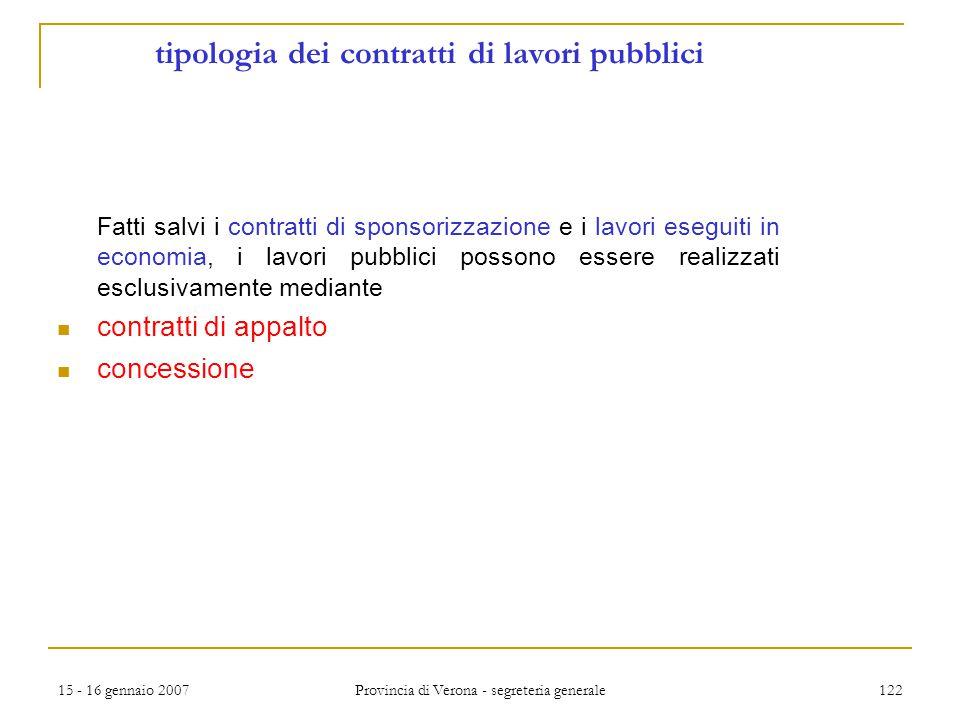 tipologia dei contratti di lavori pubblici