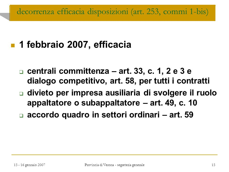 decorrenza efficacia disposizioni (art. 253, commi 1-bis)
