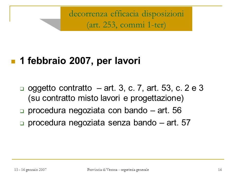 decorrenza efficacia disposizioni (art. 253, commi 1-ter)