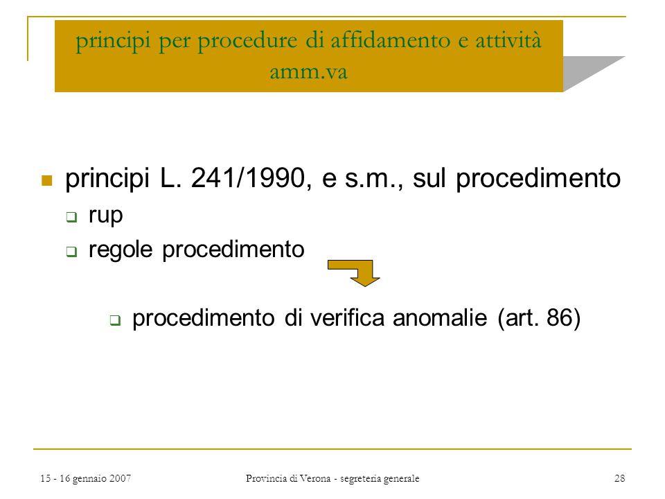 principi per procedure di affidamento e attività amm.va