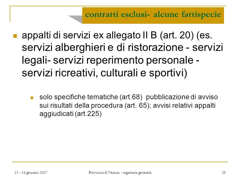 contratti esclusi- alcune fattispecie