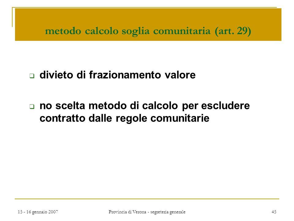 metodo calcolo soglia comunitaria (art. 29)