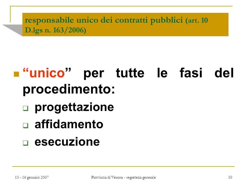 responsabile unico dei contratti pubblici (art. 10 D.lgs n. 163/2006)