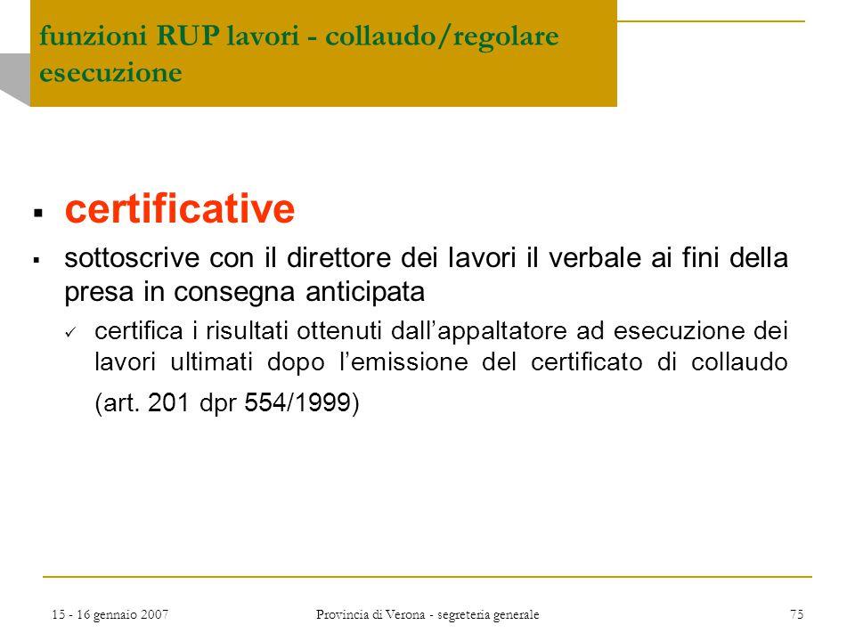 funzioni RUP lavori - collaudo/regolare esecuzione