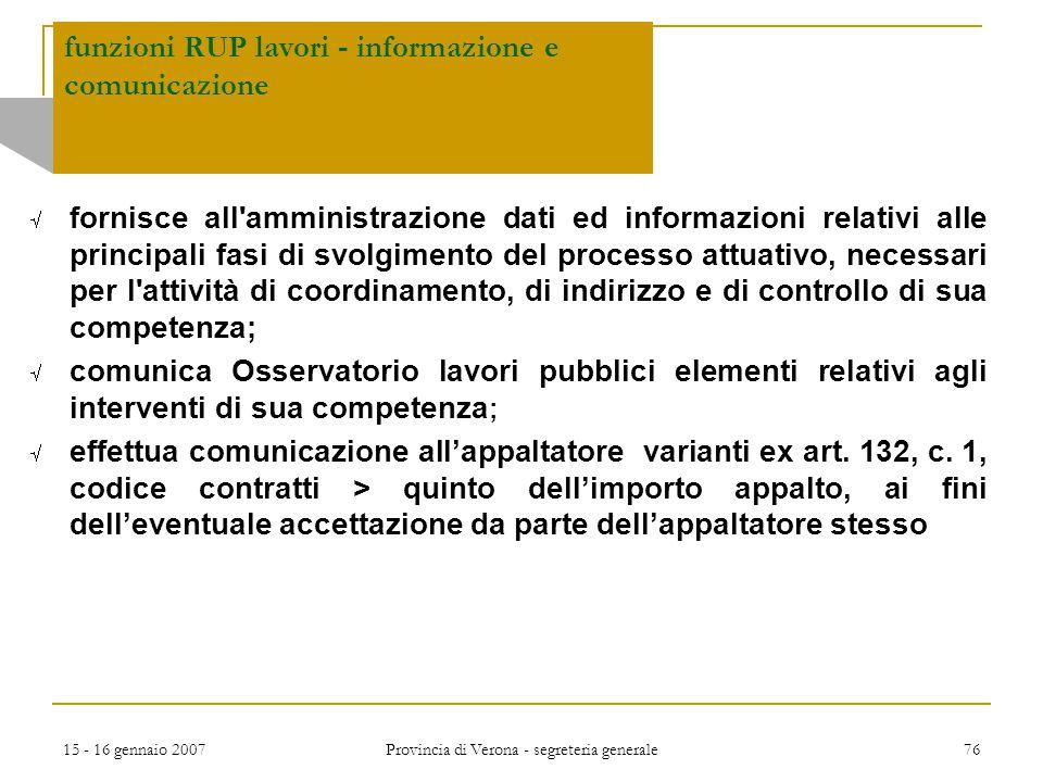 funzioni RUP lavori - informazione e comunicazione