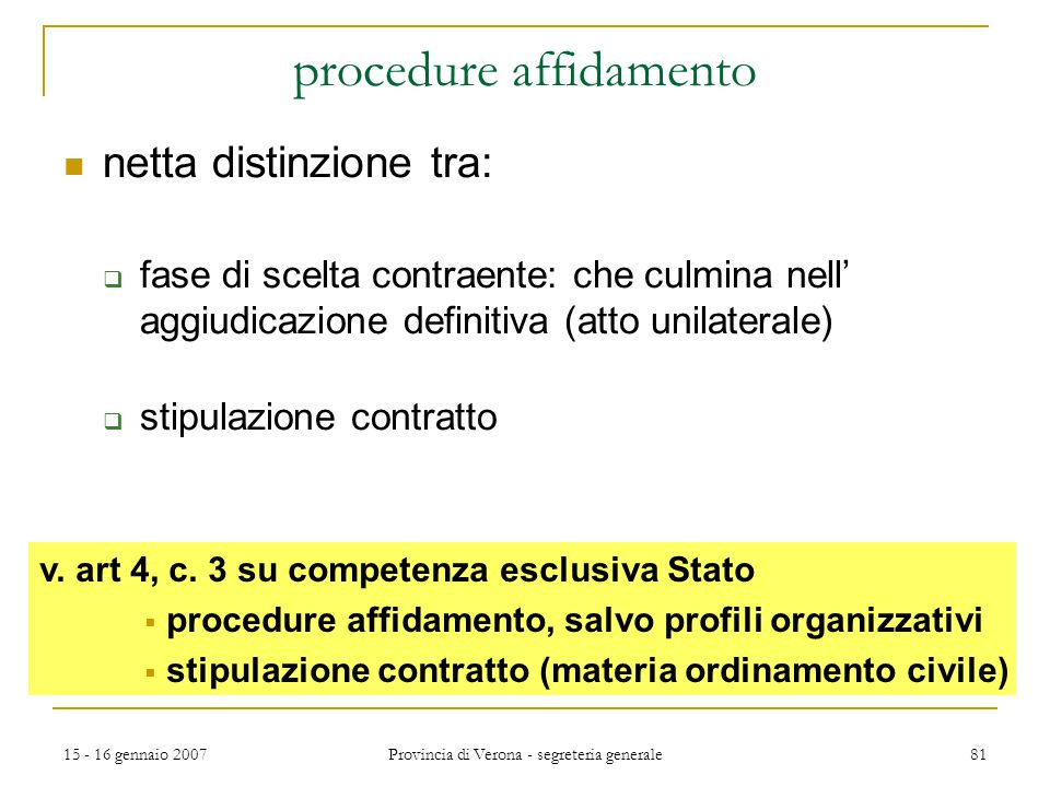 procedure affidamento