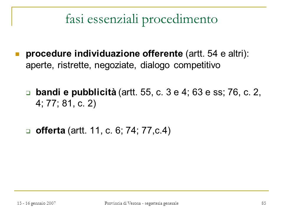 fasi essenziali procedimento