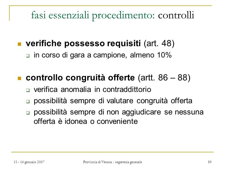 fasi essenziali procedimento: controlli