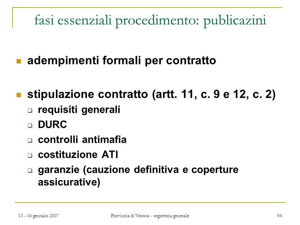 fasi essenziali procedimento: publicazini