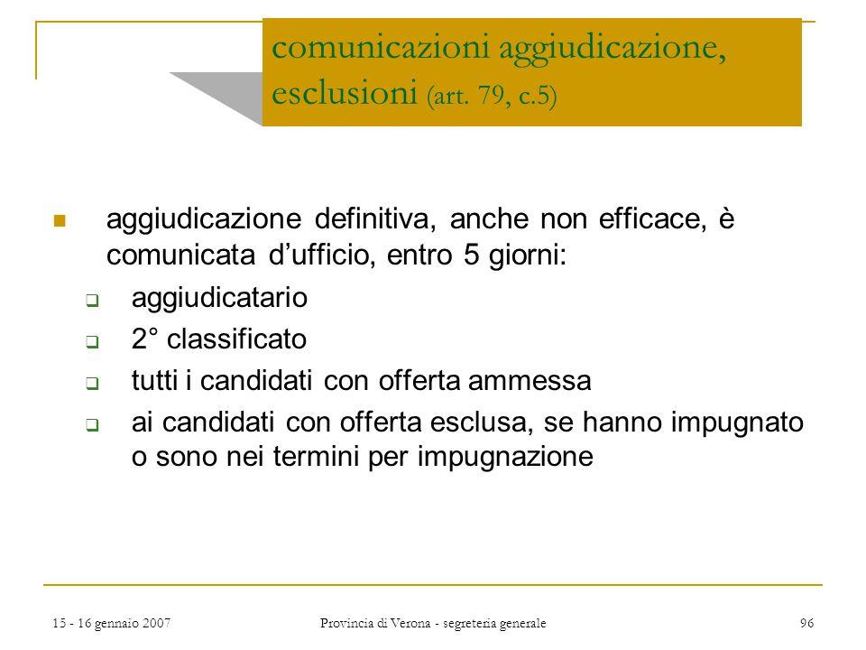 comunicazioni aggiudicazione, esclusioni (art. 79, c.5)