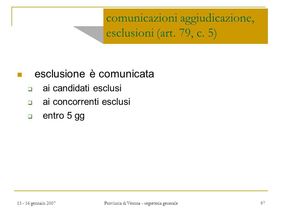 comunicazioni aggiudicazione, esclusioni (art. 79, c. 5)