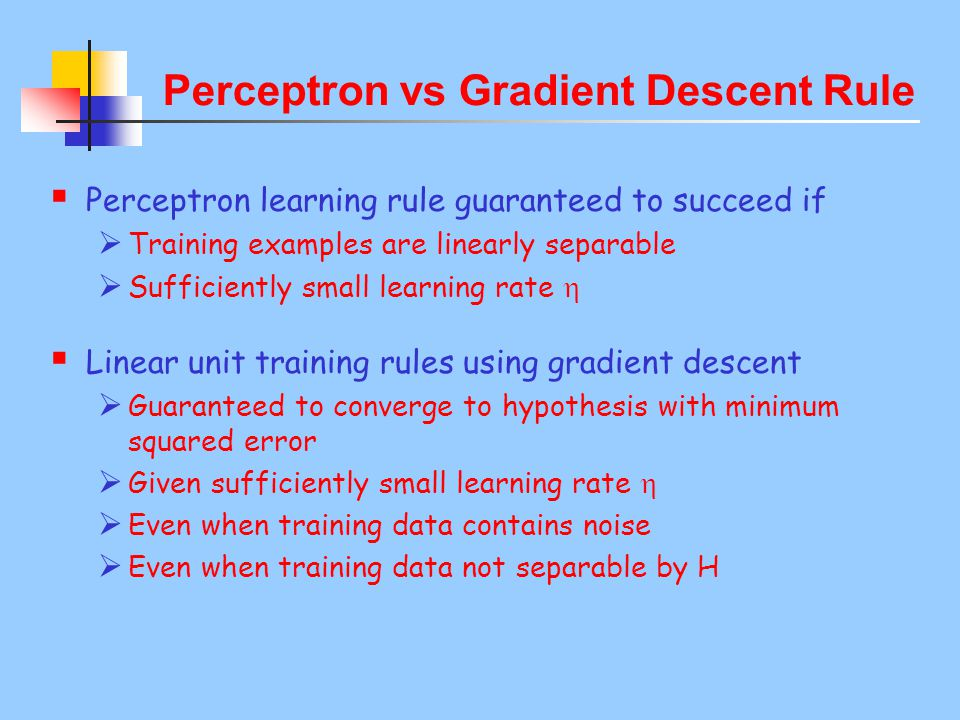 Perceptron vs Gradient Descent Rule