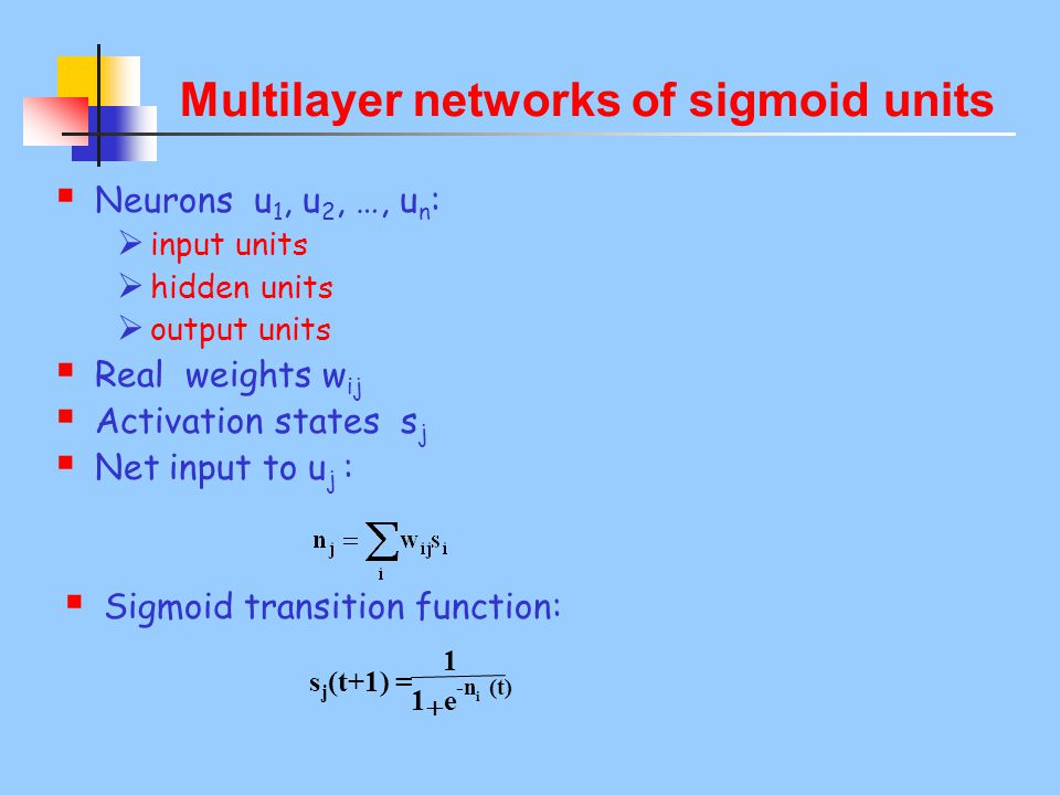 Multilayer networks of sigmoid units