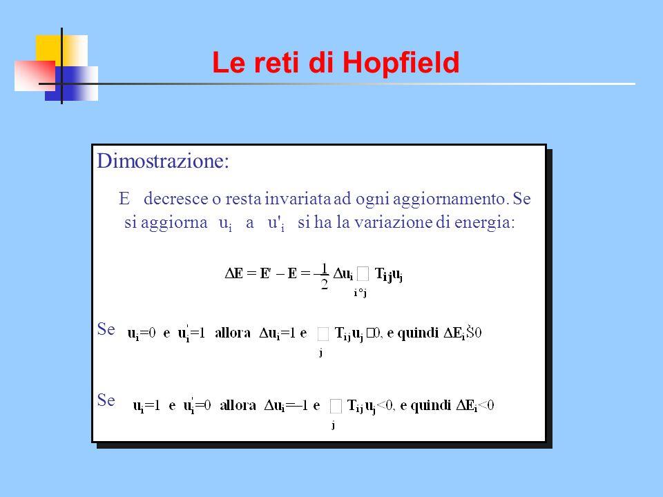 Le reti di Hopfield Dimostrazione: Se