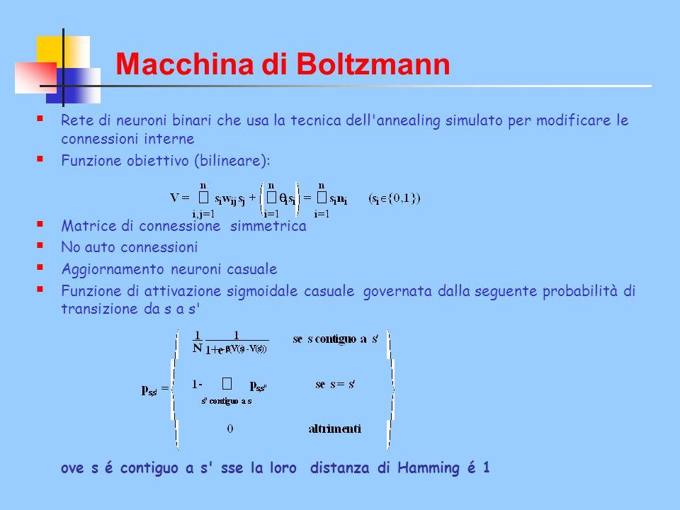 Macchina di Boltzmann La BM é un modello computazionale parallelo adatto per compiti di soddisfazione di vincoli con un gran numero di vincoli.