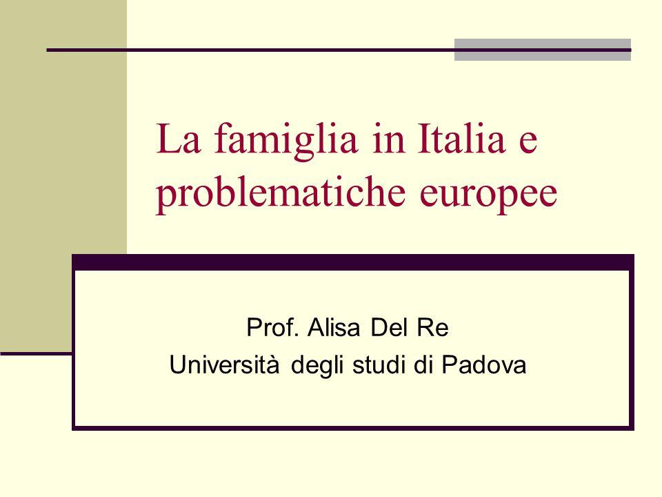 La famiglia in Italia e problematiche europee