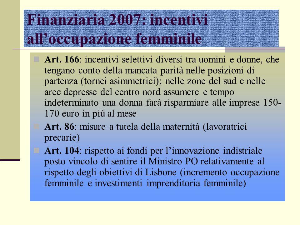 Finanziaria 2007: incentivi all'occupazione femminile