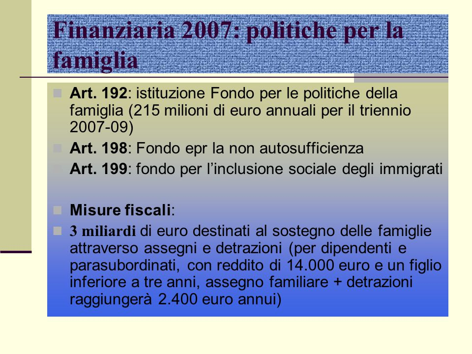 Finanziaria 2007: politiche per la famiglia