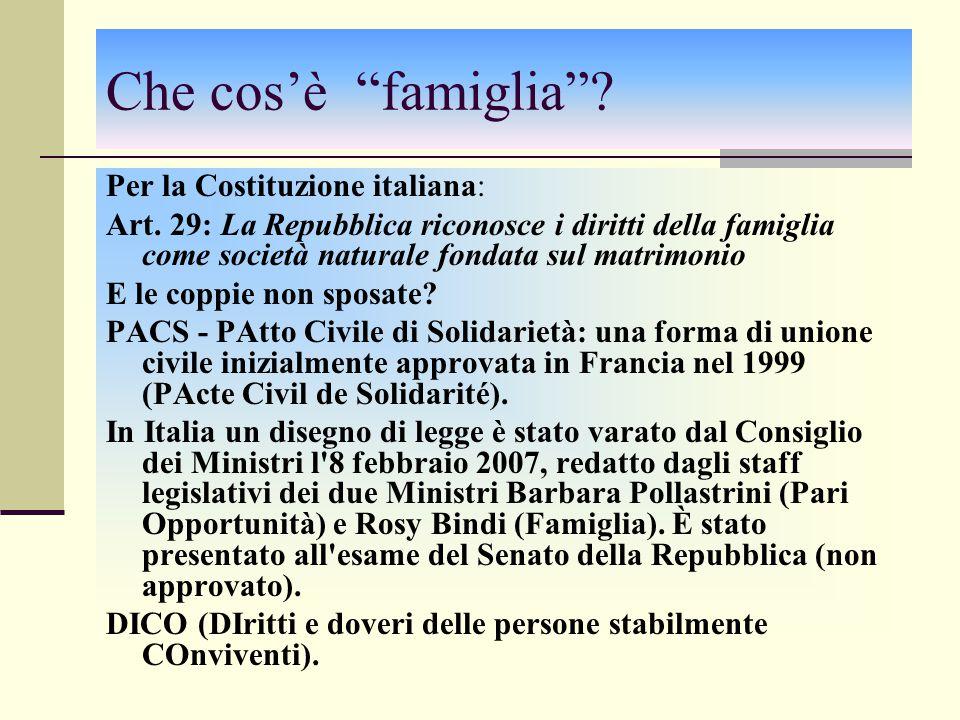 Che cos'è famiglia Per la Costituzione italiana: