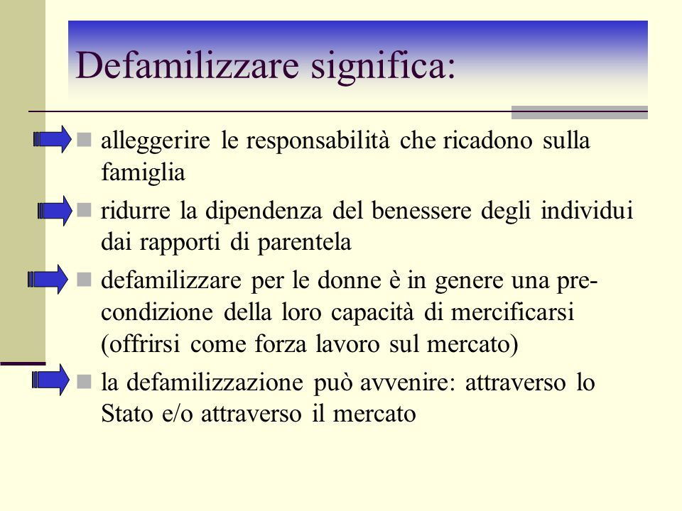 Defamilizzare significa: