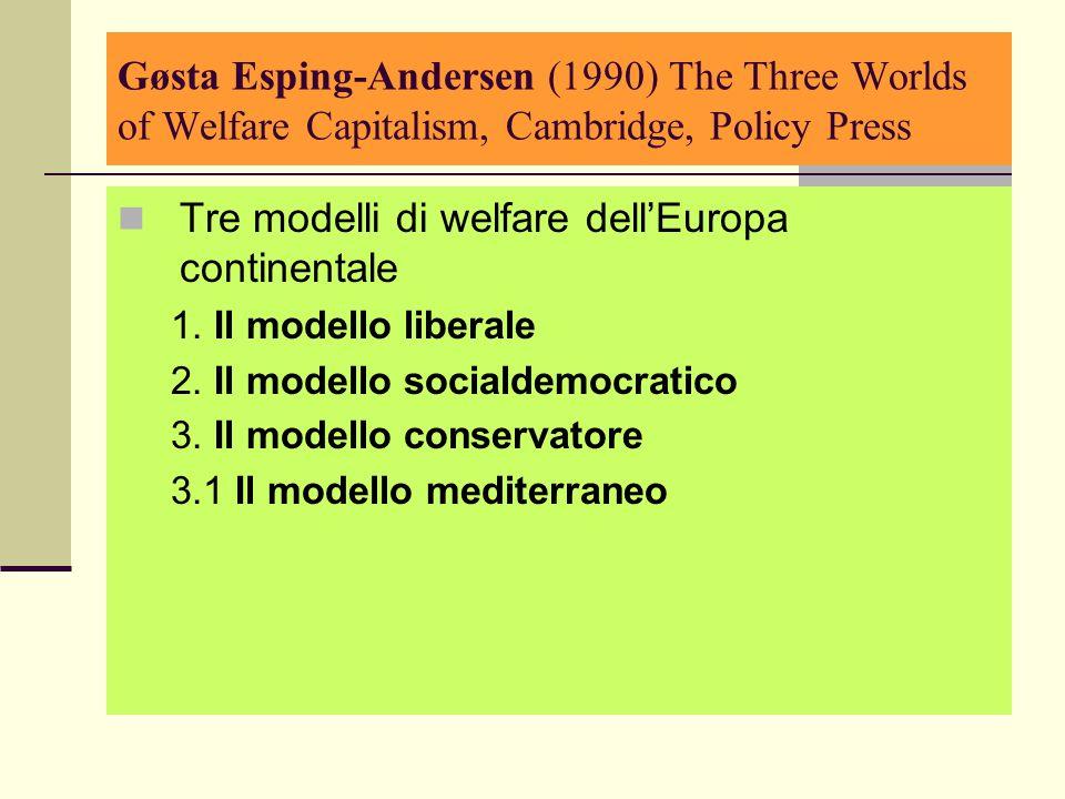 Tre modelli di welfare dell'Europa continentale