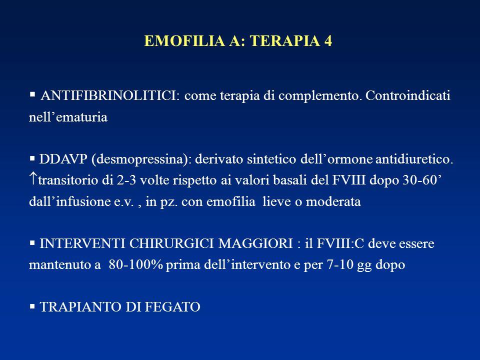 EMOFILIA A: TERAPIA 4 ANTIFIBRINOLITICI: come terapia di complemento. Controindicati nell'ematuria.
