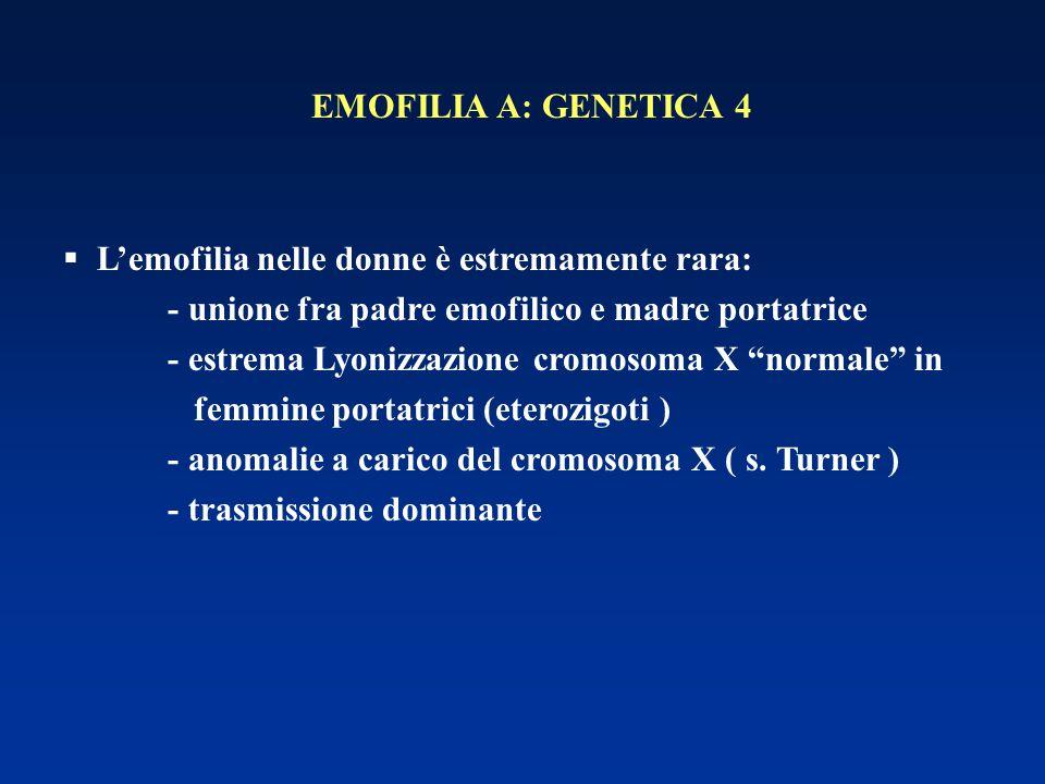EMOFILIA A: GENETICA 4 L'emofilia nelle donne è estremamente rara: - unione fra padre emofilico e madre portatrice.