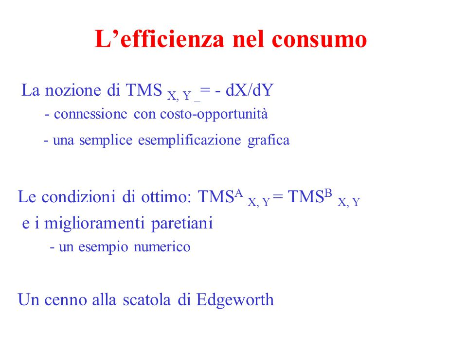 L'efficienza nel consumo