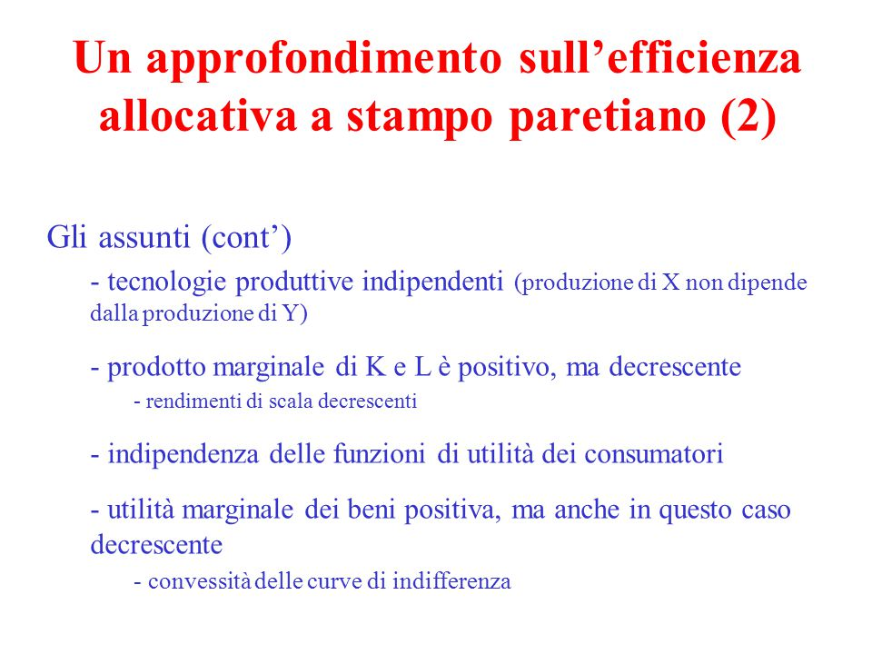 Un approfondimento sull'efficienza allocativa a stampo paretiano (2)
