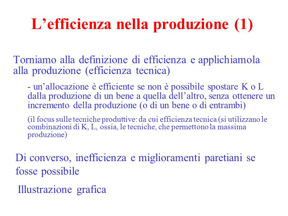 L'efficienza nella produzione (1)