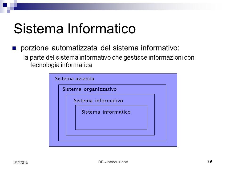 Sistema Informatico porzione automatizzata del sistema informativo:
