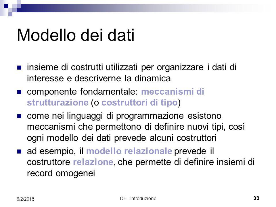 Modello dei dati insieme di costrutti utilizzati per organizzare i dati di interesse e descriverne la dinamica.