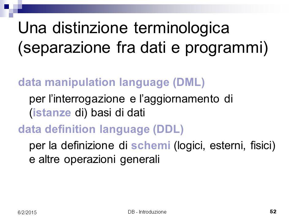 Una distinzione terminologica (separazione fra dati e programmi)