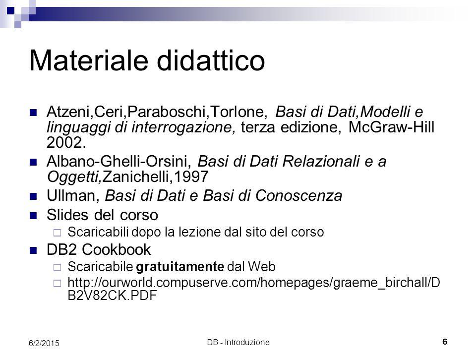 Materiale didattico Atzeni,Ceri,Paraboschi,Torlone, Basi di Dati,Modelli e linguaggi di interrogazione, terza edizione, McGraw-Hill 2002.