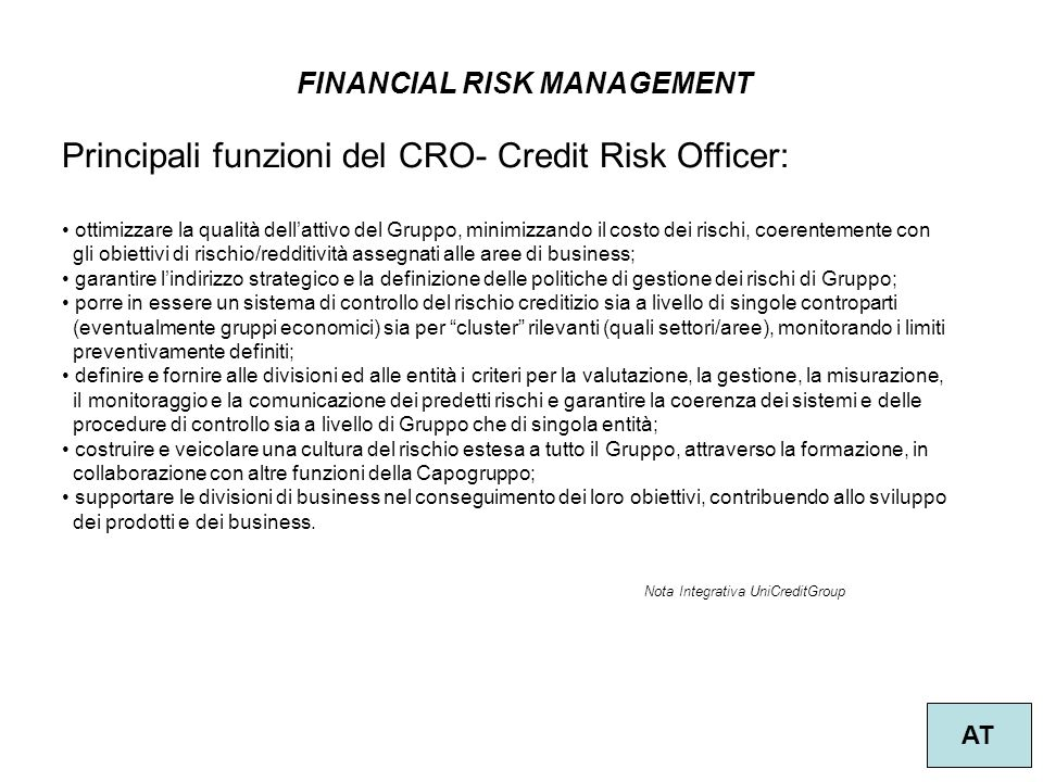 Principali funzioni del CRO- Credit Risk Officer: