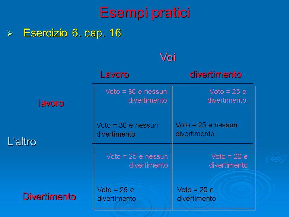 Esempi pratici Esercizio 6. cap. 16 Voi L'altro Lavoro divertimento