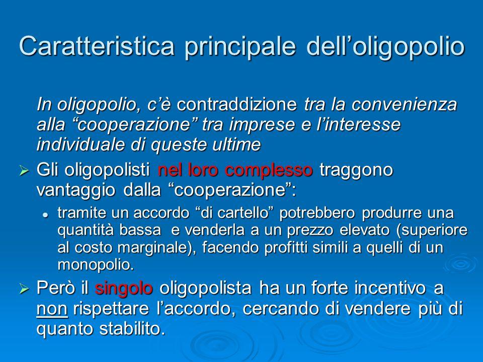 Caratteristica principale dell'oligopolio