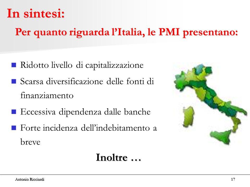 Per quanto riguarda l'Italia, le PMI presentano: