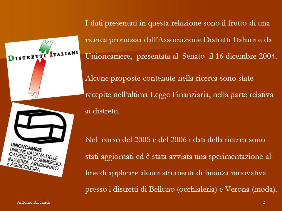 I dati presentati in questa relazione sono il frutto di una ricerca promossa dall'Associazione Distretti Italiani e da Unioncamere, presentata al Senato il 16 dicembre 2004.