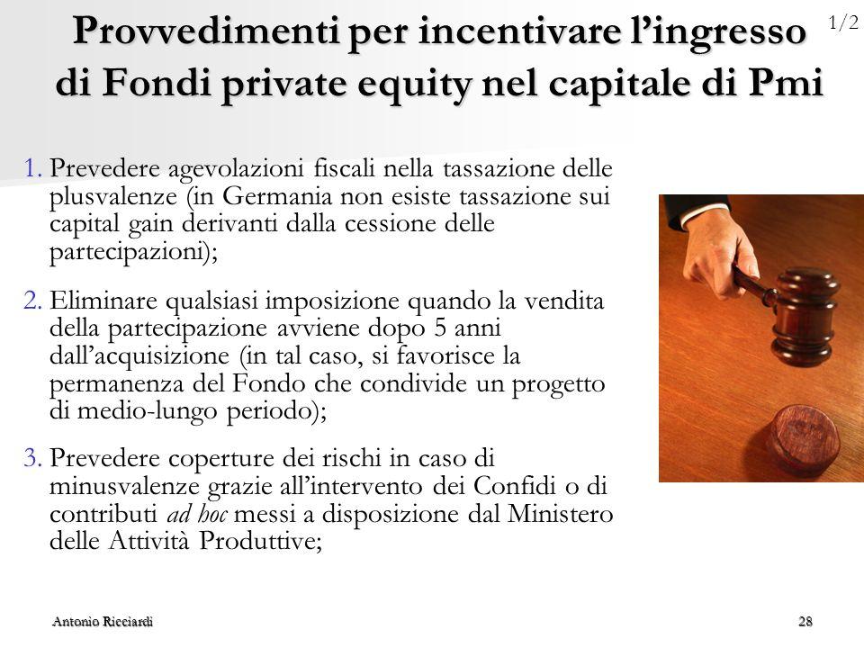 Provvedimenti per incentivare l'ingresso di Fondi private equity nel capitale di Pmi