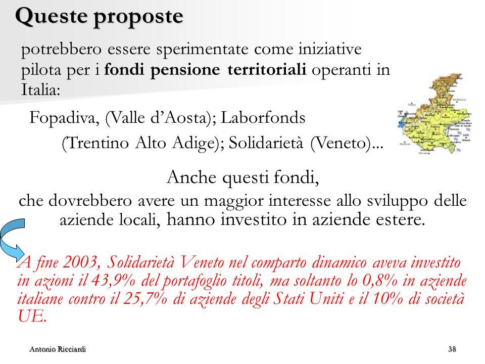 (Trentino Alto Adige); Solidarietà (Veneto)...