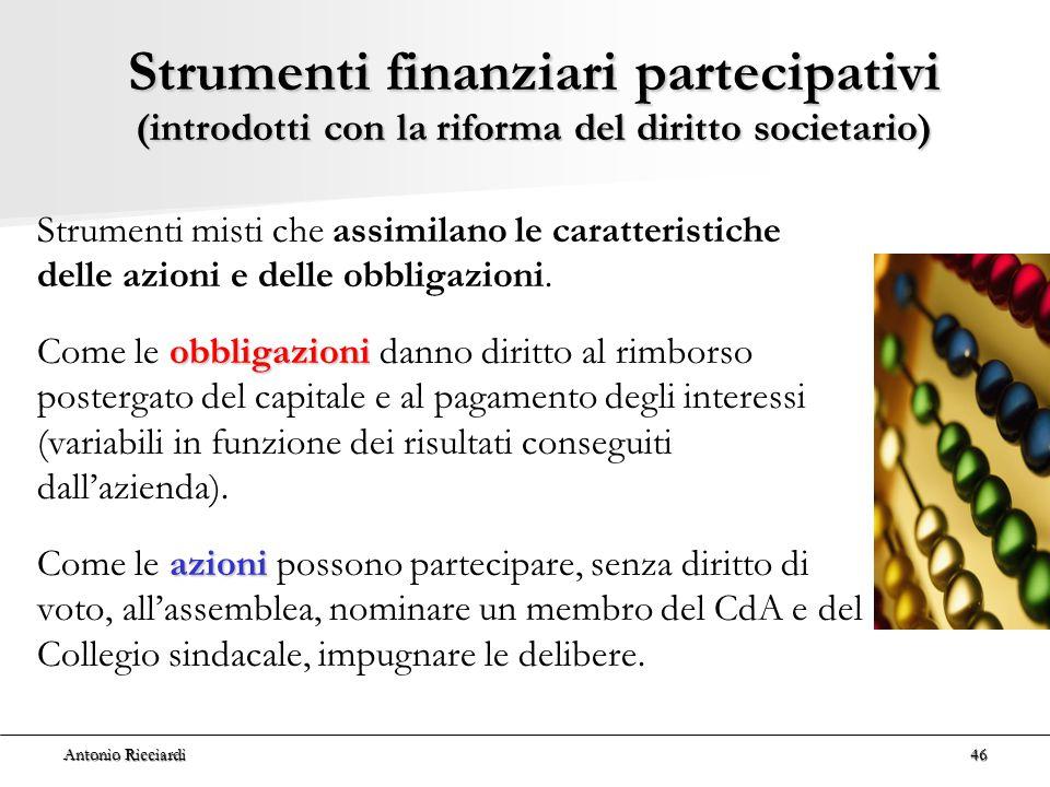 Strumenti finanziari partecipativi (introdotti con la riforma del diritto societario)