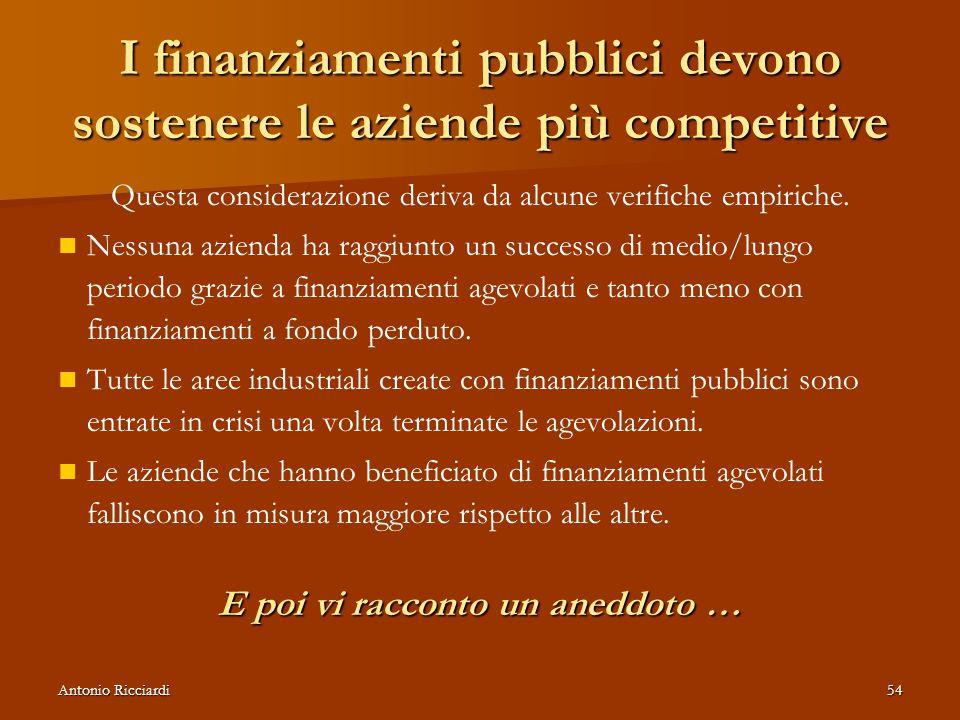 I finanziamenti pubblici devono sostenere le aziende più competitive